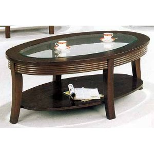 Cappucino Finish Oval Coffee Table with Glass Center