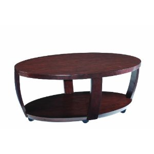 Wood Oval Cocktail Table with Castors
