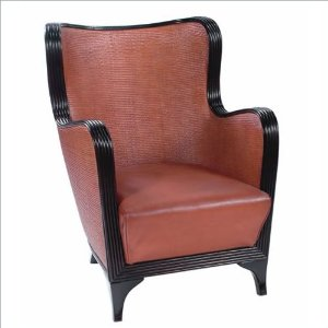 Rattan Tan Leather Wingback Chair